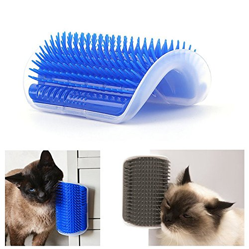 - 2PC Dog- DOG- Cat Self Groomer with Catnip, Dog Cat Corner Groomer,Wall Corner Massage Comb,Grooming Brush, Perfect Massager Tool for Long & Short Fur Cats/Dogs/Horses