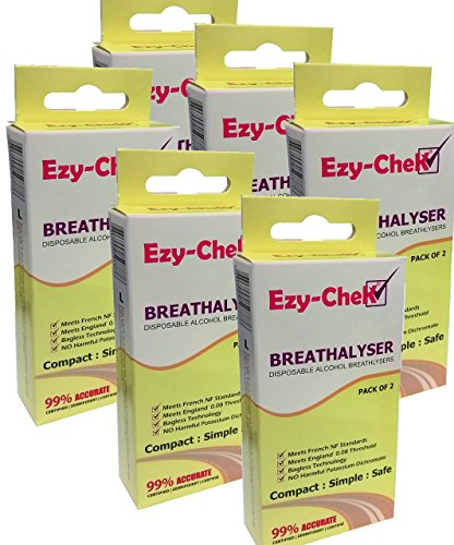 12X Ezy-Chek Disposable Breathalyser - Bagless Technology : Uk And Nf Standards 6X Twin Pack Breathalyzer by Ezy-CheK