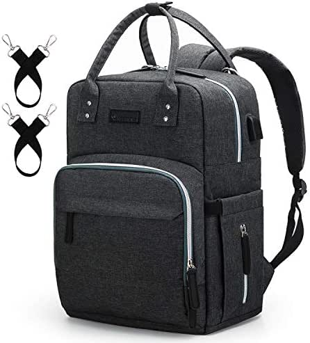 Diaper Bag Backpack Upsimples Multi-Function Maternity Nappy Bags for Mom & Dad, Baby Bag with Laptop Pocket,USB Charging Port,Stroller Straps -Dark Grey
