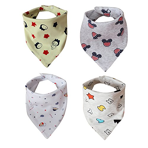 Comfy Care Baby Bandana Bibs for Drooling and Teething, Unisex 4 Pack Gift Set for Boys &Girls, Absorbent Organic Cotton for Cute Baby