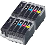 Odyssey Supplies PGI-5, CLI-8 Canon Compatible Ink Cartridges for Pixma MP500, MP530, MP600, MP600R, MP610, MP800, MP800R, MP810, MP830, iP4200, iP4300, iP4500, iP5200, iP5200R, IP530, MP 500, MP 530, MP 600, MP 600R, MP 610, MP 800, MP 800R, MP 810, MP 830, iP 4200, iP 4300, iP 4500, iP 5200, iP 5200R, iP 5300, PGI-5 and CLI-8 with Chip 10 inks