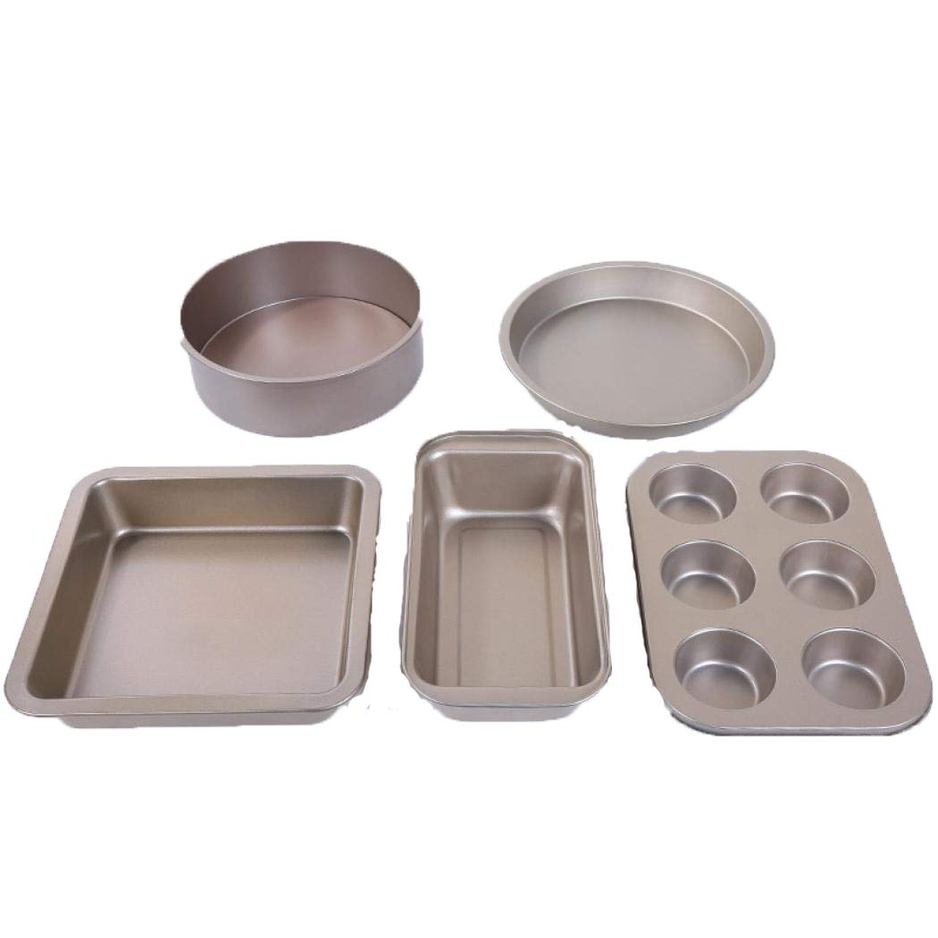 LLFS 5 Pieces Bakeware Set Easy Baking Trays Non Stick Set - Carbon Steel Baking Equipment (1)