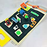 Toy Car Play Mat - Birthday Gift Ideas for Little Boys - Best Travel Toy for Kids with storage Pocket for Hot Wheels or Matchbox or Cars - TinyFeats Kids Toys for Plane or Road Trip