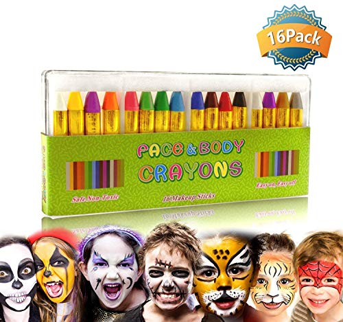 Face Paint Crayon Face Painting Kit for Kids, 16 Color Face and Body Crayons Safe & Non Toxic Washable Face Paint Halloween Cosplay Festival Makeup Body Paint for Toddler, Children, Adult,Teen, Boy