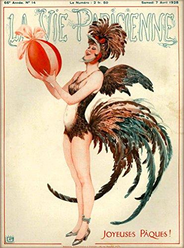 1928 La Vie Parisienne Joyeuses Pâques Rooster Costume Girl French Nouveau from a Magazine France Travel Advertisement Picture Art Poster Print. Poster measures 10 x 13.5 (Costumes Parisien)