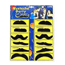 12 X Black Fake Moustache Mustaches Costume Party Fun