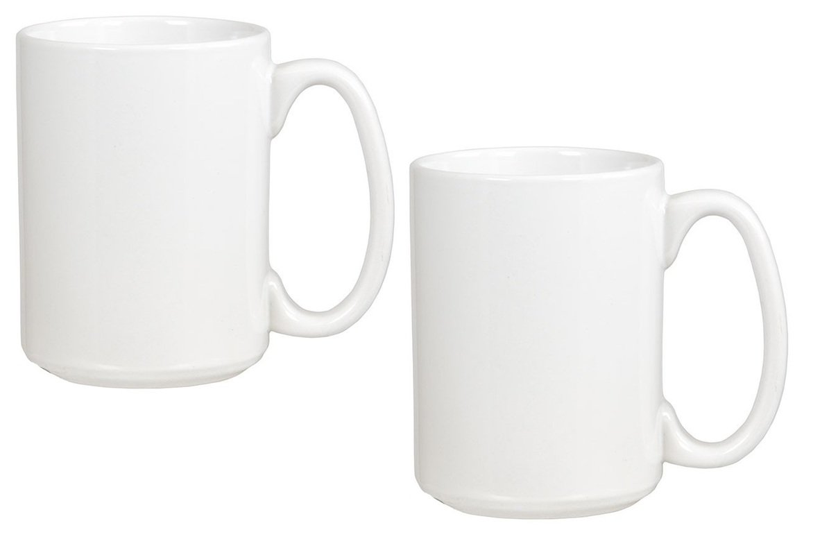 El Grande Style Large Ceramic Coffee Mug With Big Handle, White 15 oz. (Pack of 2)