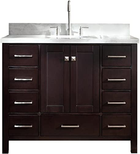 ARIEL 43 Inch Oval Sink Espresso Bathroom Vanity Cabinet with Carrara White Marble Countertop 2 Soft Closing Doors and 9 full Extension Dovetail Drawers No Mirror