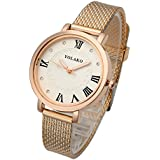 Top Plaza Womens Ladies Fashion Leather Analog Quartz Wrist Watch Unique Metal Like Leather Strap Rose Gold Case Roman Numerals Dress Watch - Rose Gold