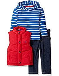 Nautica Baby Boys' Three Piece Set with Puffer Vest and Hooded Top