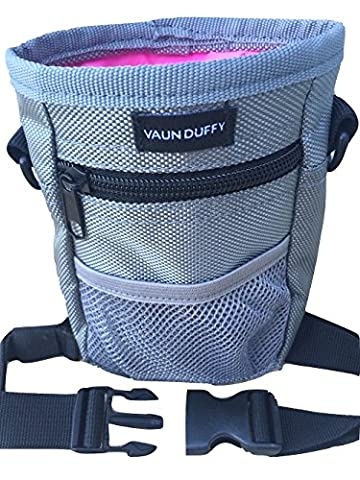 Dog Treat Training Bag with Mesh Pouch for Ball or Toys - Includes Waste Poop Bag Dispenser and Large Front Pocket with Zipper - 3 Options to Wear - Clip, Belt or Over the Shoulder Strap - Pink Lining