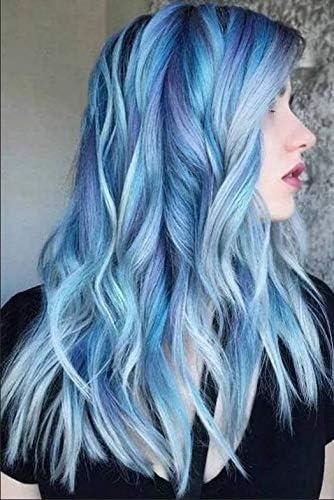 YUNSI Peluca de pelo largo ondulado, mezcla de estilos, color violeta, azul, verde, claro y gris, resistente al calor, Peluca sintética para mujeres, ...