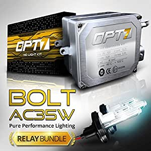 OPT7® Bolt AC HID Xenon Conversion Kit w/ Relay Harness & Capacitors - 2 Year Warranty - 9008 Hi-Lo (5000K, Bright White)