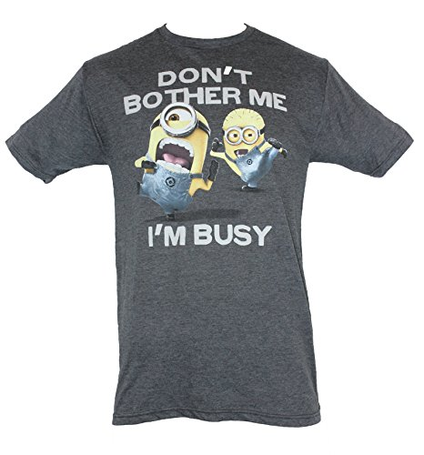 """Despicable Me Mens T-Shirt - """"Don't Bother Me, I'm Buy"""" Kicking Minions Pic (Large) Heather Gray"""