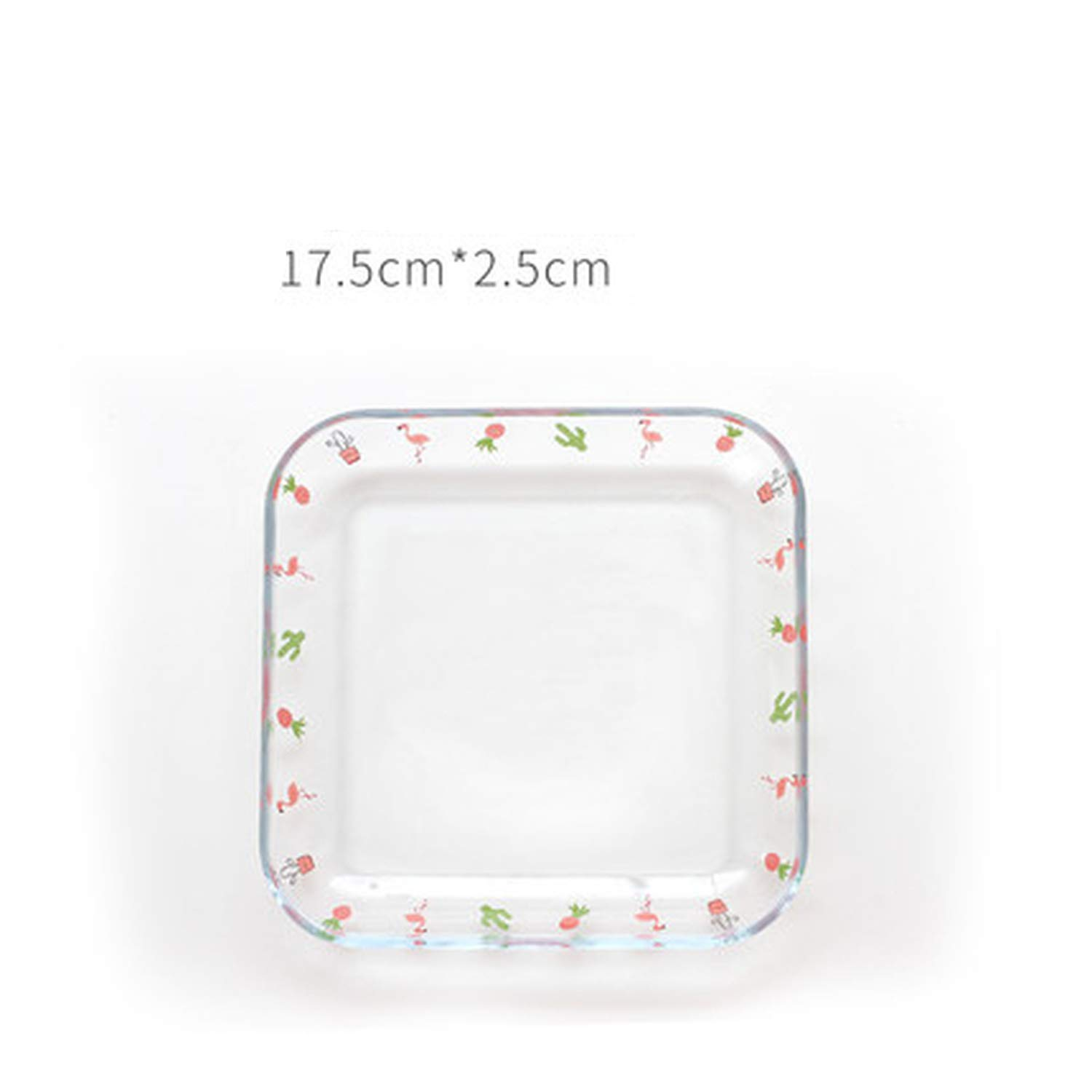 Flamingo Fish Plate heat resistant tempered glass Food tray fbaked dish plate fruit salad Plate,7 inch Palte