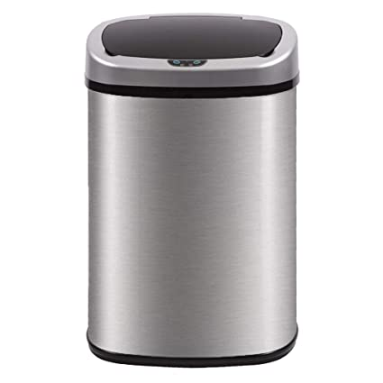 Amazoncom Bestoffice Automatic Kitchen Trash Can Brushed Stainless