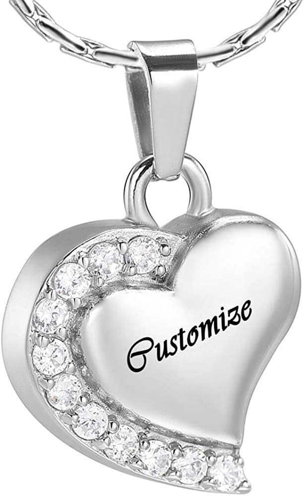 constantlife Cremation Jewelry Heart Pendant Ashes Necklace Memorial Urn for Loved One Keepsake Carved I Love You to The Moon and Back