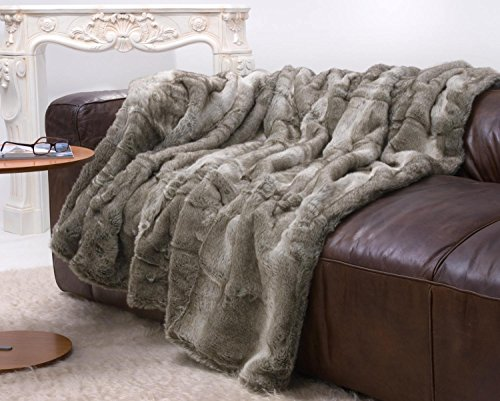 Große Felldecke, Pelzplaid, Webpelzdecke grauer Bär in grau Melange 170x220cm