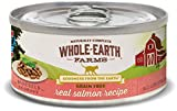 Whole Earth Farms 24 Count Grain Free Shredded Salmon Recipe Canned Cat Food, 5 Oz.