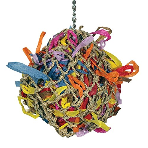 Sweet Feet and Beak Bird Toys Super Shredder Ball - Will Keep Your Pet Bird Busy for Weeks Foraging for Hidden Treasures - Non-Toxic - Easy to Install - for Medium Sized Birds - 5 inch Diameter