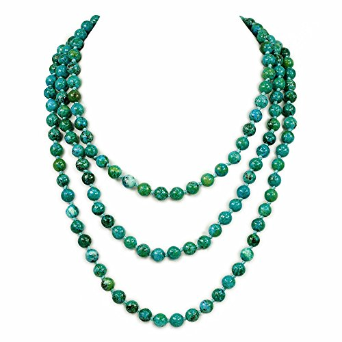 Ny6design 006 Gorgeous! Round Smooth Blue Chrysocolla Long Hand-Knotted Necklace 60