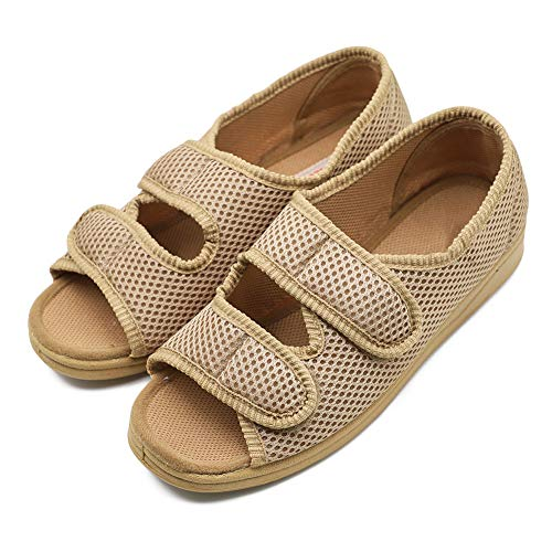 Diabetic Shoe - Woman Diabetic Shoes, Extra Wide Width Open Toe Sandals, Adjustable Arthritis Edema Slippers for Elderly Women Khaki