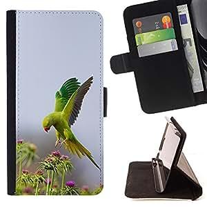 BullDog Case - FOR/Apple Iphone 6 / - / bird green flowers nature parrot spring /- Monedero de cuero de la PU Llevar cubierta de la caja con el ID Credit Card Slots Flip funda de cuer