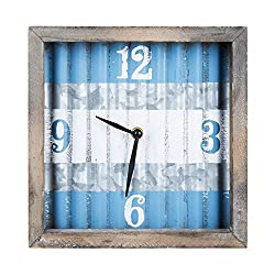 Farmhouse Galvanized Metal Wall Clock, Vintage Square Wood and Metal Wall Clock, 9.5''