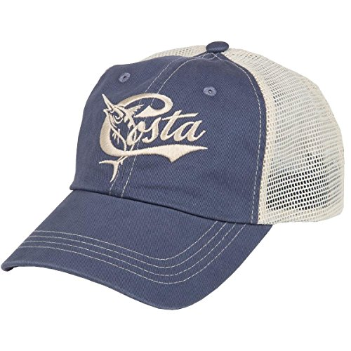 Costa Del Mar Retro Trucker Hat with Snap Closure, Blue/Stone