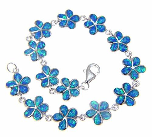 Sterling Silver Hawaiian Jewelry Plumeria Flower Synthetic Blue Opal Pendant