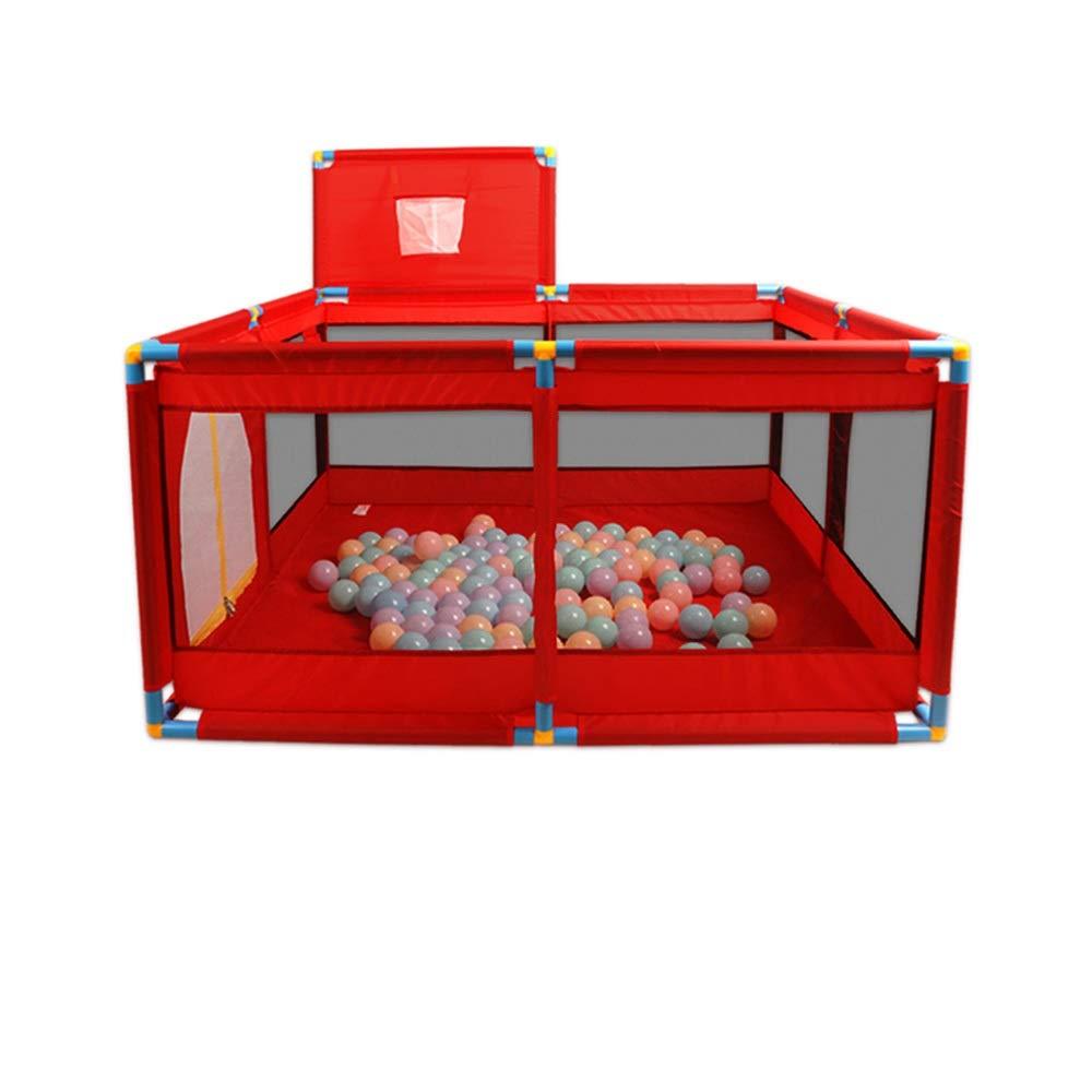QFFL ベビーベビーサークル、8パネル子供の遊び場ポータブルボールと100のボールとシューティングフレームが付いている屋内屋外の網の金庫の活動的な区域 - (赤/青) ベビーサークル (Color : Red-a, Size : 128x128x66cm) 128x128x66cm Red-a B07TC8G9S1
