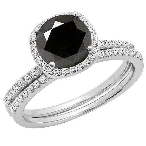 Dazzlingrock Collection 2.00 Carat (ctw) 14K White Gold Round Cut Black & White Diamond Engagement Ring Set 2 CT (Size 7) -