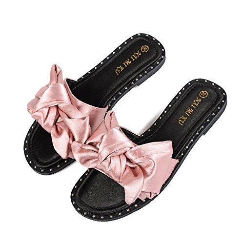ITTXTTI Zapatillas de Mujer Usan Sandalias y Sandalias sociales de Moda Verde Plano Arco Salvaje Verano B