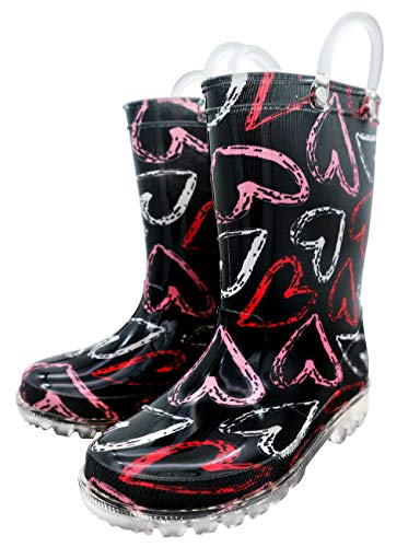 (TQ Homebase Girls Rain Boots Hearts Print with Easy on Handles for Little Kids Size 11 M Waterproof)
