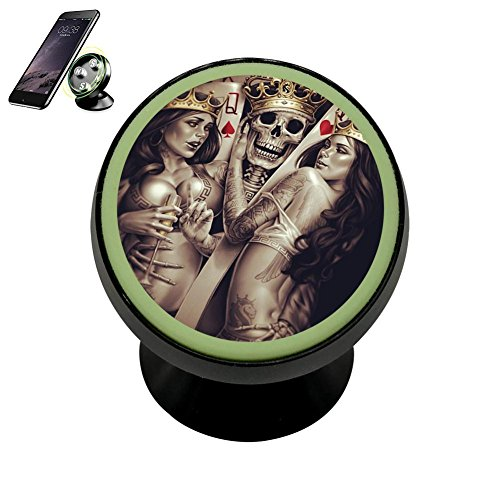 Vehicle Phone Mount Skull Poker King Card Holder Magnetic Universal Cradle Stand Car Dashboard Mount Strong Magnets Cell Phone Kit Women Men Carbon Poker