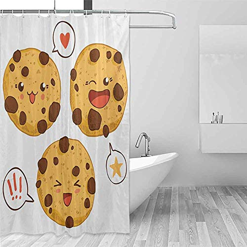 Xlcsomf Decorative Shower Curtain Kawaii Three Chocolate Chip Cookies with Different Expressions Japanese Inspirations Easy to Care Brown Pale Brown,W36 xL72 (Best Chocolate Chip Cookies In Los Angeles)