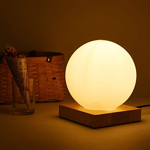 ELINKUME Boule de verre Lampe de table, abat jour et base en