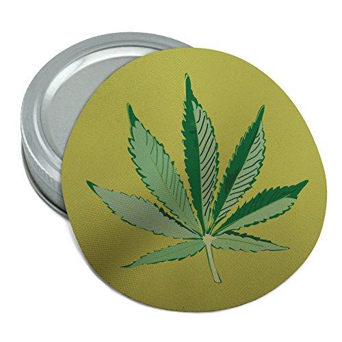 (Marijuana Pot Weed Leaf Bud Ganja Green Mary Jane on Yellow Round Rubber Non-Slip Jar Gripper Lid Opener)