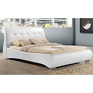 Amazon.com: Atlin Designs Upholstered Queen Faux Leather Sleigh Bed ...