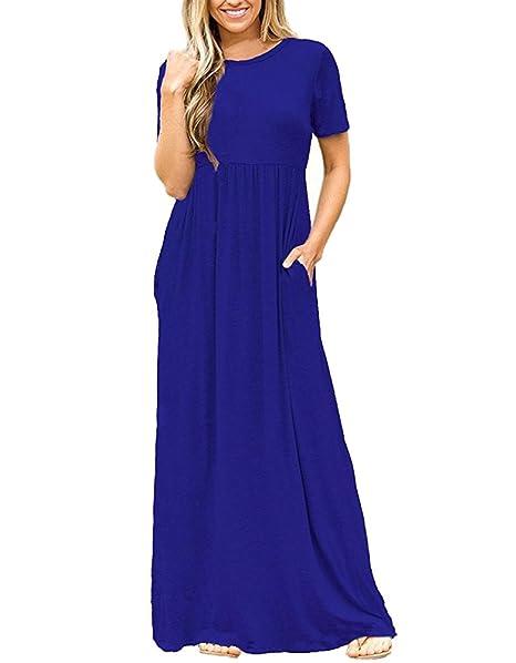Mujer Vestido Larga Bolsillo Manga Corta Casual Loose Vestido de Fiesta de Noche Azul S