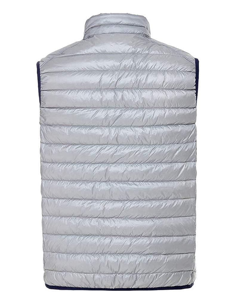 Blouson sans Manche Homme, Veste Court Manteaux Chaud Ultra-Léger Réversible Gilet Bleu-marine Gris