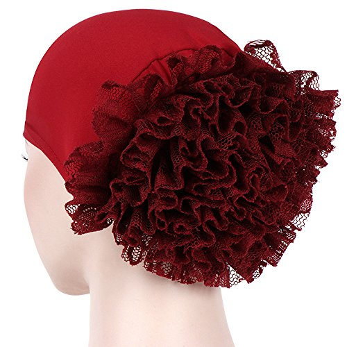 (CHIDY Women Floral India Hat Muslim Ruffle Pure Color Trend Anti-Hair Loss Cap Beanie Scarf Turban Wrap Cap)
