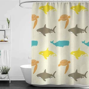 homecoco Shower Curtains White Fabric Sea Animals,Pattern with Whale,Shark and Turtle Aquarium Doodle Style Marine Life,Ivory Taupe Peach W36 x L72,Shower Curtain for Kids