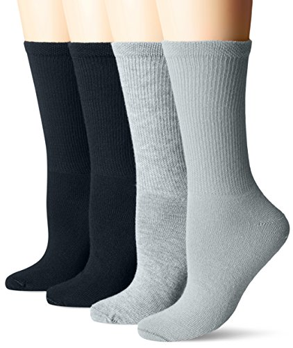 Dr. Scholl's Women's Guaranteed Comfort Diabetic and Circulatory crew 4 Pack Socks ,NV/GY, 4-10
