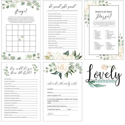 Lovely Celebrations: Bridal Shower Games Set Generic Floral Design Match any Decorations