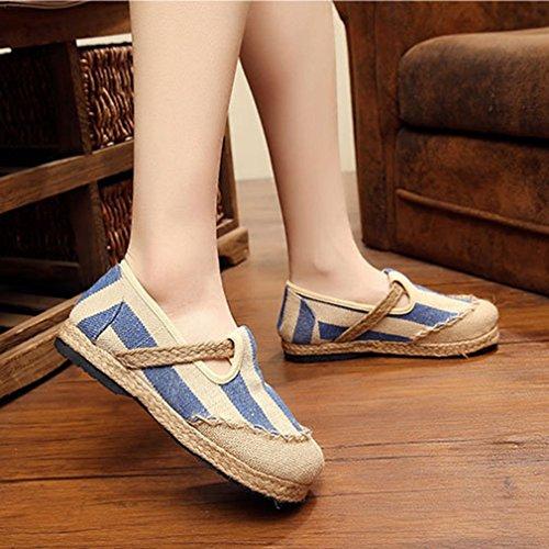 Mocassini Donna Mocassino Mocassino Piatto Esotico Slip-on A Punta Tonda In Lino Abito Casual Mocassini Oxford Scarpe Blu-bianco