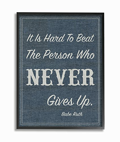 Framed Babe Ruth (Stupell Industries Never Give up Babe Ruth Framed Giclee Texturized Art, 11 x 1.5 x 14, Proudly Made in USA)