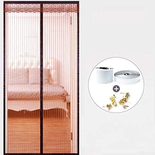 防蚊カーテン、防蚊カーテンベルクロ世帯、磁気ハイグレード網戸、夏のパーティションカーテン、昆虫や蚊の侵入を防ぐための、および回避パンチング (Color : Brown, Size : 190*240cm)