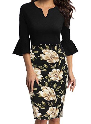 (WOOSUNZE Womens Flounce Bell Sleeve Office Work Casual Pencil Dress (Flowers-2, Small))