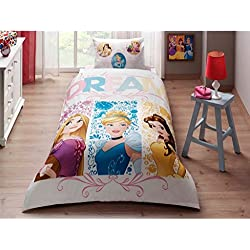 Single Twin Kids Girls Original Disney Princess Dream 100% Cotton Duvet Quilt Comforter Cover Bedding Set 3 Pcs